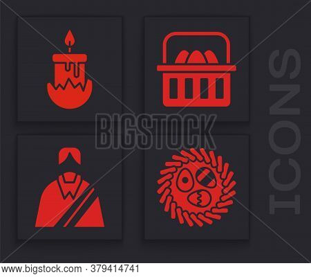 Set Easter Egg In A Wicker Nest, Burning Candle, Basket With Easter Eggs And Jesus Christ Icon. Vect