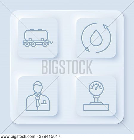 Set Line Oil Railway Cistern, Oil Drop, Businessman Or Stock Market Trader And Gauge Scale. White Sq