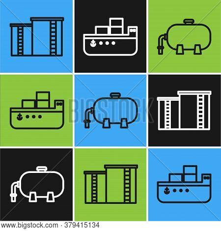 Set Line Oil Industrial Factory Building, Oil Industrial Factory Building And Oil Tanker Ship Icon.