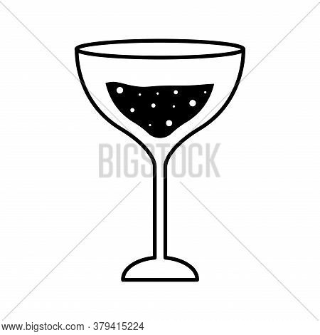 Margarita Cocktail Glass Cup Silhouette Style Icon Design, Alcohol Drink Bar And Beverage Theme Vect