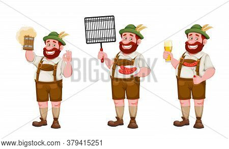 Man In Bavarian Clothes, Funny Cartoon Character, Set Of Three Poses. Munich Beer Festival Oktoberfe