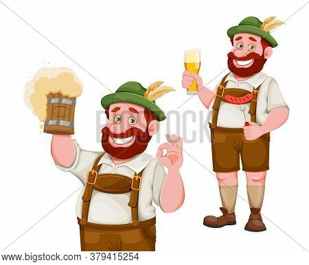 Man In Bavarian Clothes, Funny Cartoon Character, Set Of Two Poses. Munich Beer Festival Oktoberfest