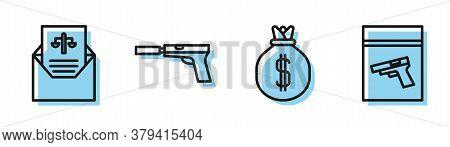 Set Line Money Bag, Subpoena, Pistol Or Gun With Silencer And Evidence Bag And Pistol Or Gun Icon. V