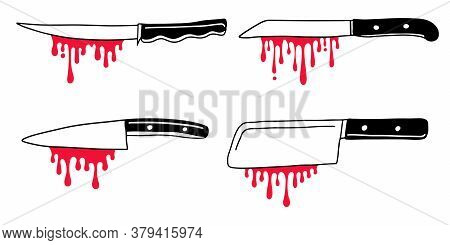 Scary Hand Drawn Doodle Kitchen Knives With Blood Drips. Vector Halloween Illustration Of Meat Cutti