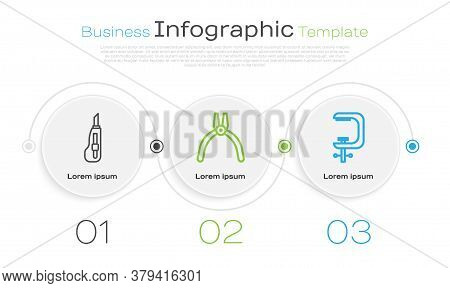 Set Line Stationery Knife, Pliers Tool And Clamp And Screw Tool. Business Infographic Template. Vect