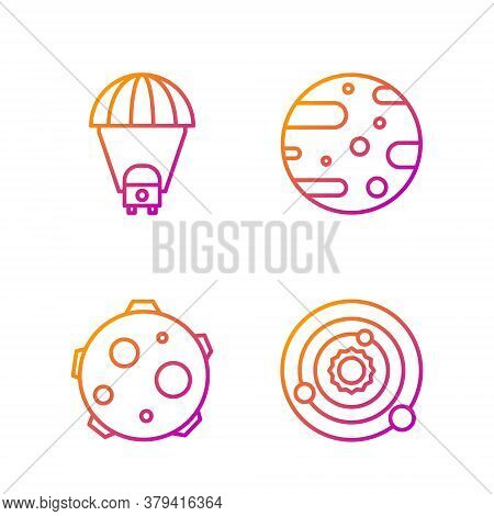 Set Line Solar System, Ufo Abducts Cow, Planet Saturn And Satellite Dish. Gradient Color Icons. Vect