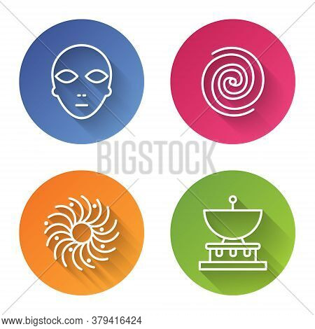 Set Line Alien, Black Hole, Black Hole And Planet Saturn. Color Circle Button. Vector