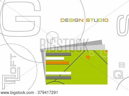 Creative Page With Business Card Template. Presentation For Customer. Client Brief Show Poster.
