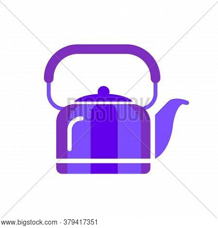 Teapot Steel Vector Icon Flat Style. Blue Kettle On Isolated Background. Warm Comfort In Your Home.