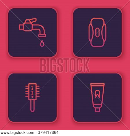 Set Line Water Tap, Hairbrush, Sanitary Napkin And Tube Of Toothpaste. Blue Square Button. Vector