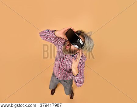 Vr. Surprised Man In Virtual Reality Headset. Future. Future Technology Concept. Men Use Vr Headset.
