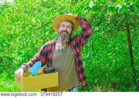 Gardener Work. Happy Bearded Man In Garden. Garden Tools. Gardening. Eco-farm. Work In Garden. Beard