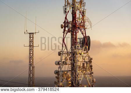 Telecommunications Mast - Directional Mobile Phone Antenna Dishes.