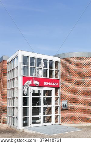 Aarhus, Denmark - September 25, 2016: Sharp Office Building. Sharp Is A Japanese Multinational Corpo