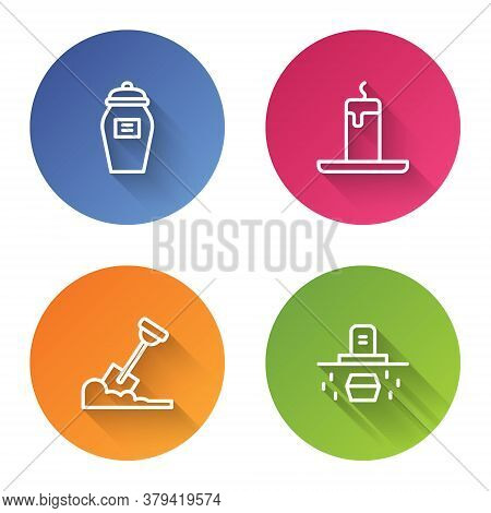 Set Line Funeral Urn, Burning Candle, Shovel The Ground And Grave With Coffin. Color Circle Button.