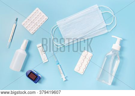 Medical Kit. Means For The Prevention And Treatment Of Influenza Or Coronavirus. Mask, Sanitizer, Te