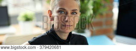 Portrait Of Happy Businesswoman Looking At Camera With Calmness And Gladness. Smiling Businesslady R