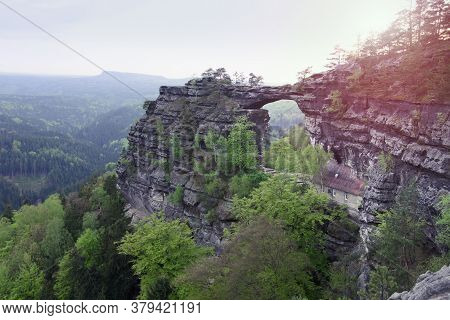Pravcicka Gate, The Biggest Natural Arch In Europe.  Czech-saxony Switzerland, Czechia. Evening Land