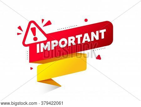 Red Banner Important With Exclamation Mark. Attention Banner For Business, Marketing And Advertising