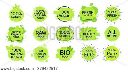 Vegan Eco Food, Bio Organic, 100 Percent Fresh. Healthy Natural Food Icon. Raw Product. Set Of Organ