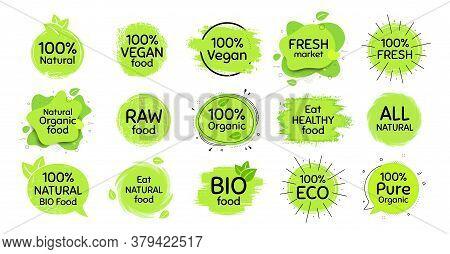 Vegan Eco Food, Bio Organic, 100 Percent Fresh. Healthy Natural Food Icon. Raw Product. Set Of Organ