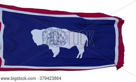 Wyoming Flag Isolated On White Background. 3d Illustration