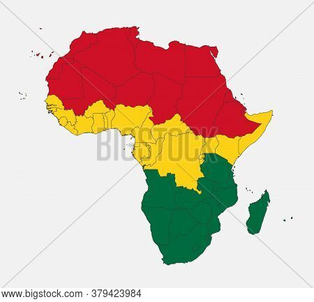 Map Of The Africa In The Colors Of The Flag With Administrative Divisions Blank
