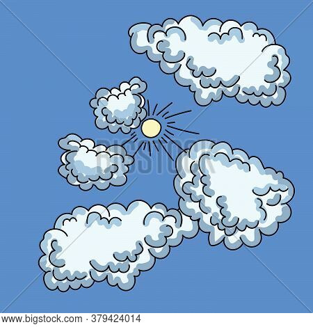 Fluffy Clouds Of Gentle Blue Color And The Sun With Rays, Drawing By Hands With A Black Outline And