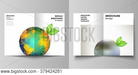 Vector Layout Of Two A4 Format Cover Mockups Design Templates For Bifold Brochure, Flyer, Cover Desi