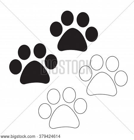 Dog And Cat Paws Symbols In Black Filled And Outline Style. Paw Silhouette Vector Icon