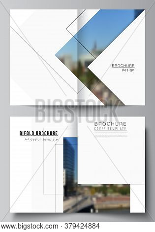 Vector Layout Of Two A4 Format Cover Mockups Design Templates With Geometric Simple Shapes, Lines An