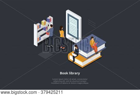 Isometric Online Library Concept. Technology And Literature. Male And Female Characters Reading Book