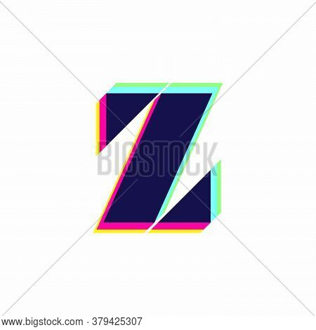 Letter Z Logo With Stereo Effect. Vibrant Glossy Colors Font Perfect To Use In Any Disco Labels, Dj