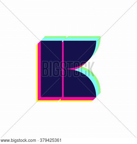 Letter K Logo With Stereo Effect. Vibrant Glossy Colors Font Perfect To Use In Any Disco Labels, Dj
