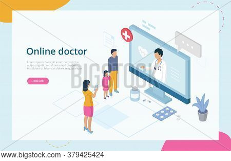 Health Care Isometric Concept, Online Doctor Consultation. Website Landing Page. Family At Doctor S