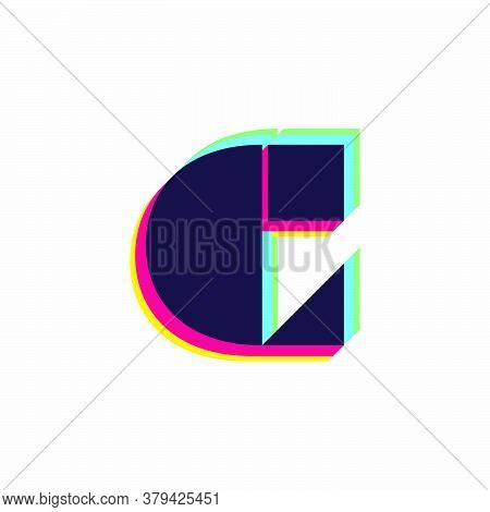 Letter C Logo With Stereo Effect. Vibrant Glossy Colors Font Perfect To Use In Any Disco Labels, Dj