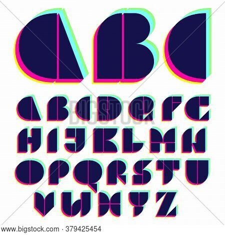 Alphabet With Stereo Effect. Vibrant Glossy Colors Font Perfect To Use In Any Disco Labels, Dj Logos