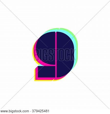 Number Nine Logo With Stereo Effect. Vibrant Glossy Colors Font Perfect To Use In Any Disco Labels,