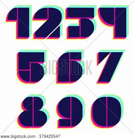 Numbers Set With Stereo Effect. Vibrant Glossy Colors Font Perfect To Use In Any Disco Labels, Dj Lo