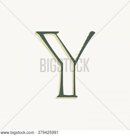 Elegant Y Letter Serif Font Logo. Classic Thin Pen Lettering With Shadow Lines. Luxury Vector Illust