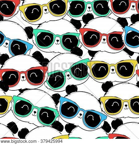 Seamless Pattern Hand Drawn Panda With Glasses. Textile Print Design. Vector Illustration Cute Panda