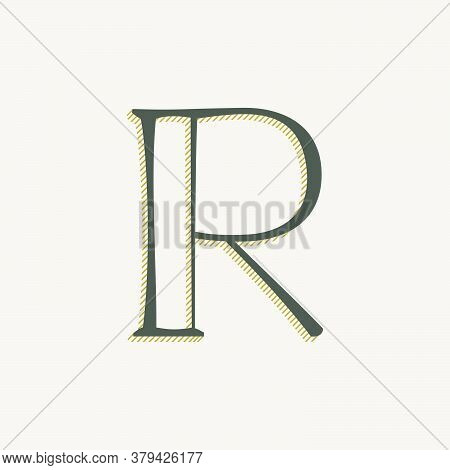 Elegant R Letter Serif Font Logo. Classic Thin Pen Lettering With Shadow Lines. Luxury Vector Illust