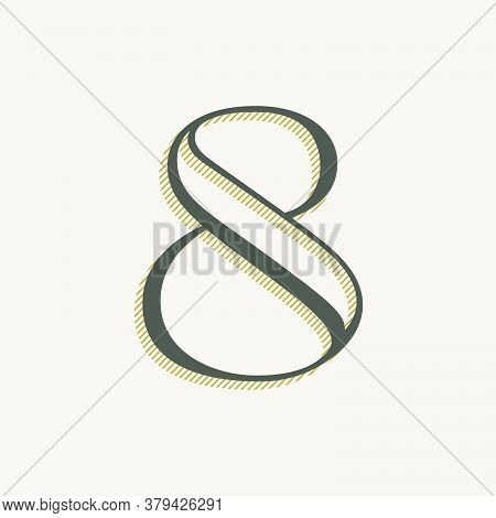 Elegant Number Eight Serif Font. Classic Thin Pen Lettering With Shadow Lines. Luxury Vector Illustr