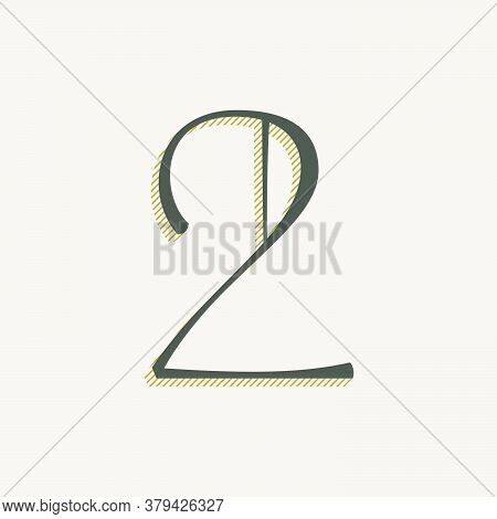 Elegant Number Two Serif Font. Classic Thin Pen Lettering With Shadow Lines. Luxury Vector Illustrat