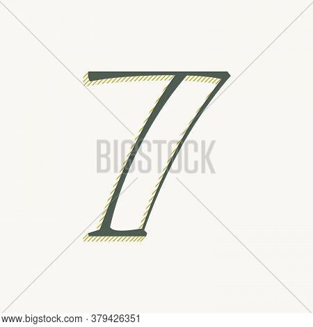 Elegant Number Seven Serif Font. Classic Thin Pen Lettering With Shadow Lines. Luxury Vector Illustr