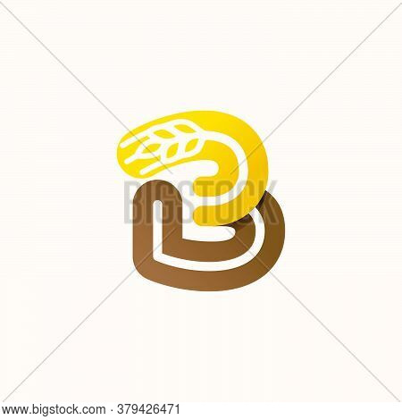 Letter B Logo With Negative Space Wheat. Perfect Vector Font For Bakery Identity, Badges Or Emblems