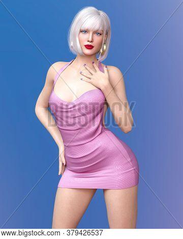 Beautiful Woman Short Evening Mini Dress.summer Clothes Collection.bright Makeup.woman Studio Photog