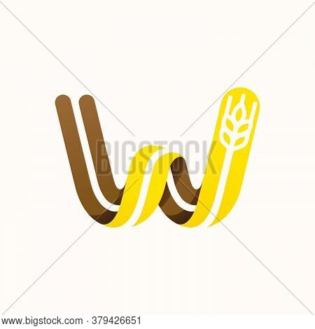 Letter W Logo With Negative Space Wheat. Perfect Vector Font For Bakery Identity, Badges Or Emblems