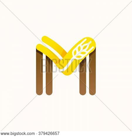 Letter M Logo With Negative Space Wheat. Perfect Vector Font For Bakery Identity, Badges Or Emblems