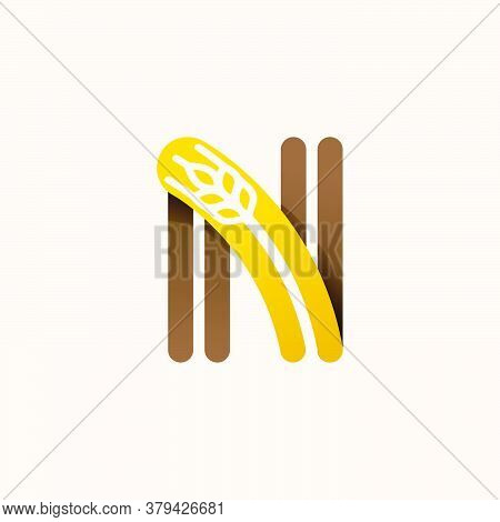 Letter N Logo With Negative Space Wheat. Perfect Vector Font For Bakery Identity, Badges Or Emblems
